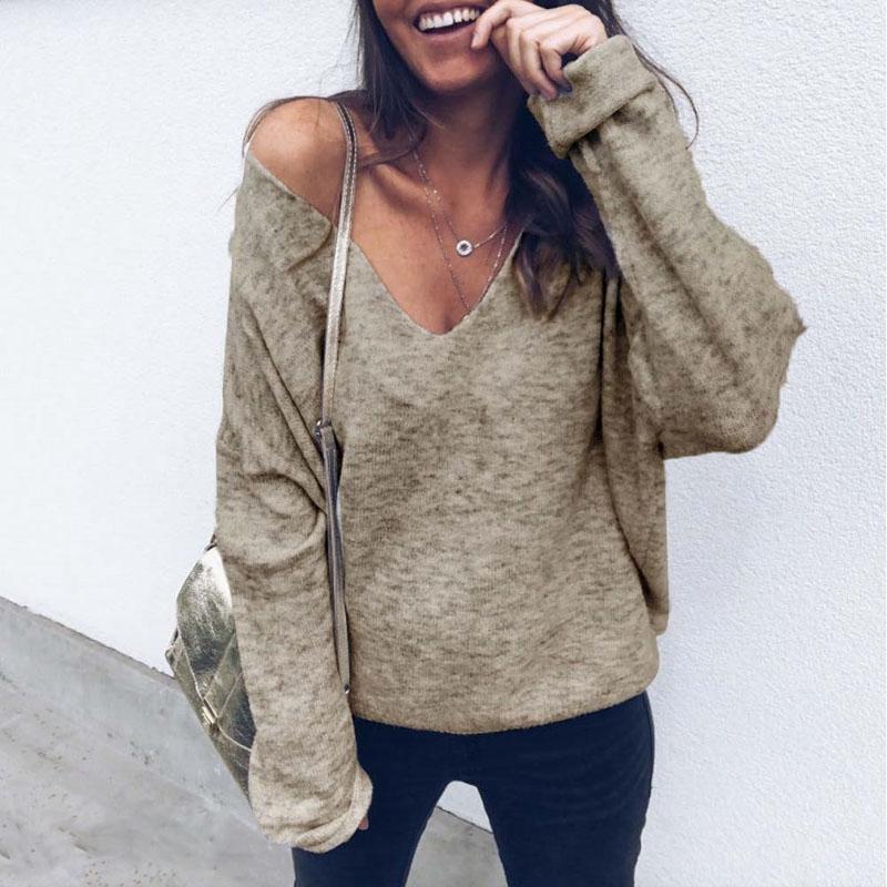 Nuova 2019 donne sexy caldo di inverno del fiocco di neve maglia maglione lavorato a maglia pullover Tops Blouse