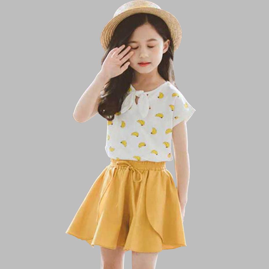 Vêtements pour filles Banana T-shirts imprimés de 2 pièces Vêtements fille à manches courtes filles Set Vêtements Costume d'été pour les filles Casual T200629