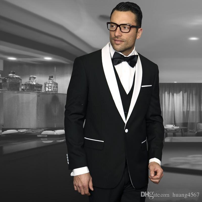 Nuovo stile One Button Nero Matrimonio sposo Smoking scialle Risvolto Groomsmen Uomo Abiti Prom Blazer (Jacket + Pants + Vest + Tie) 143
