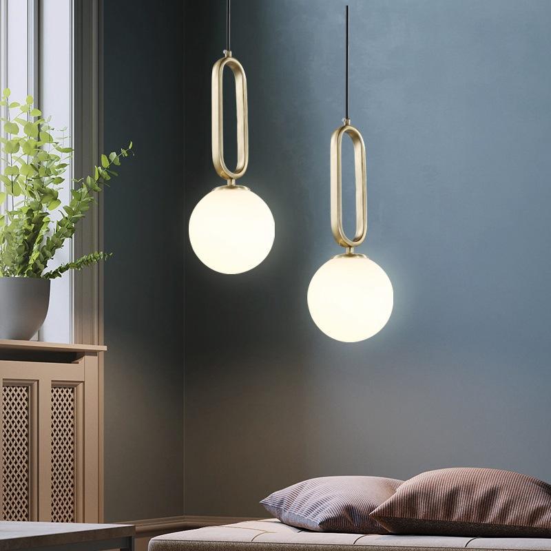 Hotelzimmer Dimm-Zimmer Einfaches E14 E27 Modern Luxury Gold Metal Oval Ring 15cm 20cm Glaskugel hängende Beleuchtung Lampen