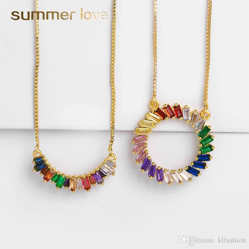 CZ Arco Iris Círculo Colgantes Collar para Mujer Moda Cobre Incrustaciones de Circón Collar de Cadena de Oro Larga Joyería de Boda de Fiesta de Moda
