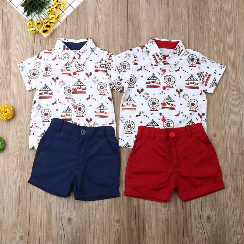 2pcs Toddler Kids Baby Boy Gentleman Outfit Clothes Formal Shirt Tops+Shorts Set