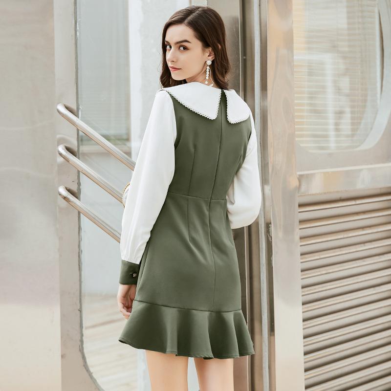 2020 новый литературные ретро британский стиль юбка весенней новой личности женщин сшивания листьев лотоса платье женщин