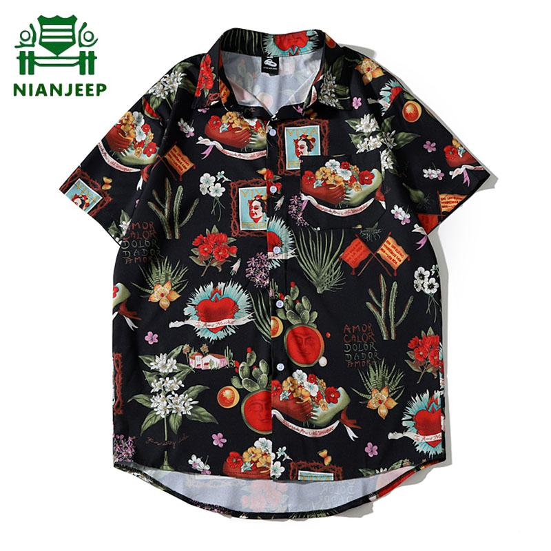 Summer Men's Printed Shirt Stand Collar Loose Short Sleeve Shirts Men Women Hawaiian Beach Oversize Hip Hop Streetwear Tops Male