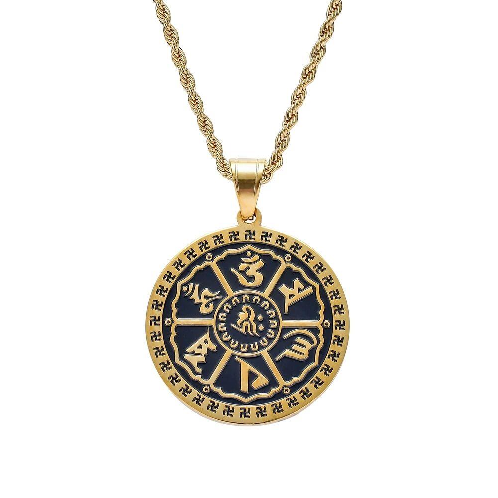 hip hop Buddismo ciondolo collane per uomo donna lusso Amuleto ciondoli in acciaio inox Om mani padme hum collana gioielli regali religiosi