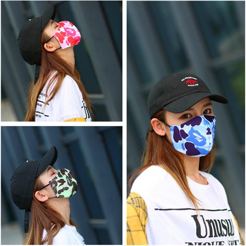 Maschera Unisex Camouflage Patchwork Viso Maschere traspirante copertina Bocca Viso Anti polvere antivento Maschera adulti Trendy aumento della temperatura in bicicletta della copertura della mascherina