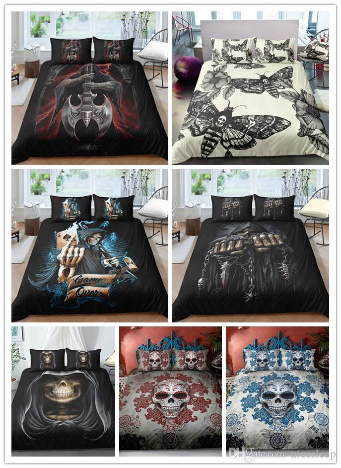 3D Halloween Skull printing Bedding sets black and white duvet cover sets single double king sizes