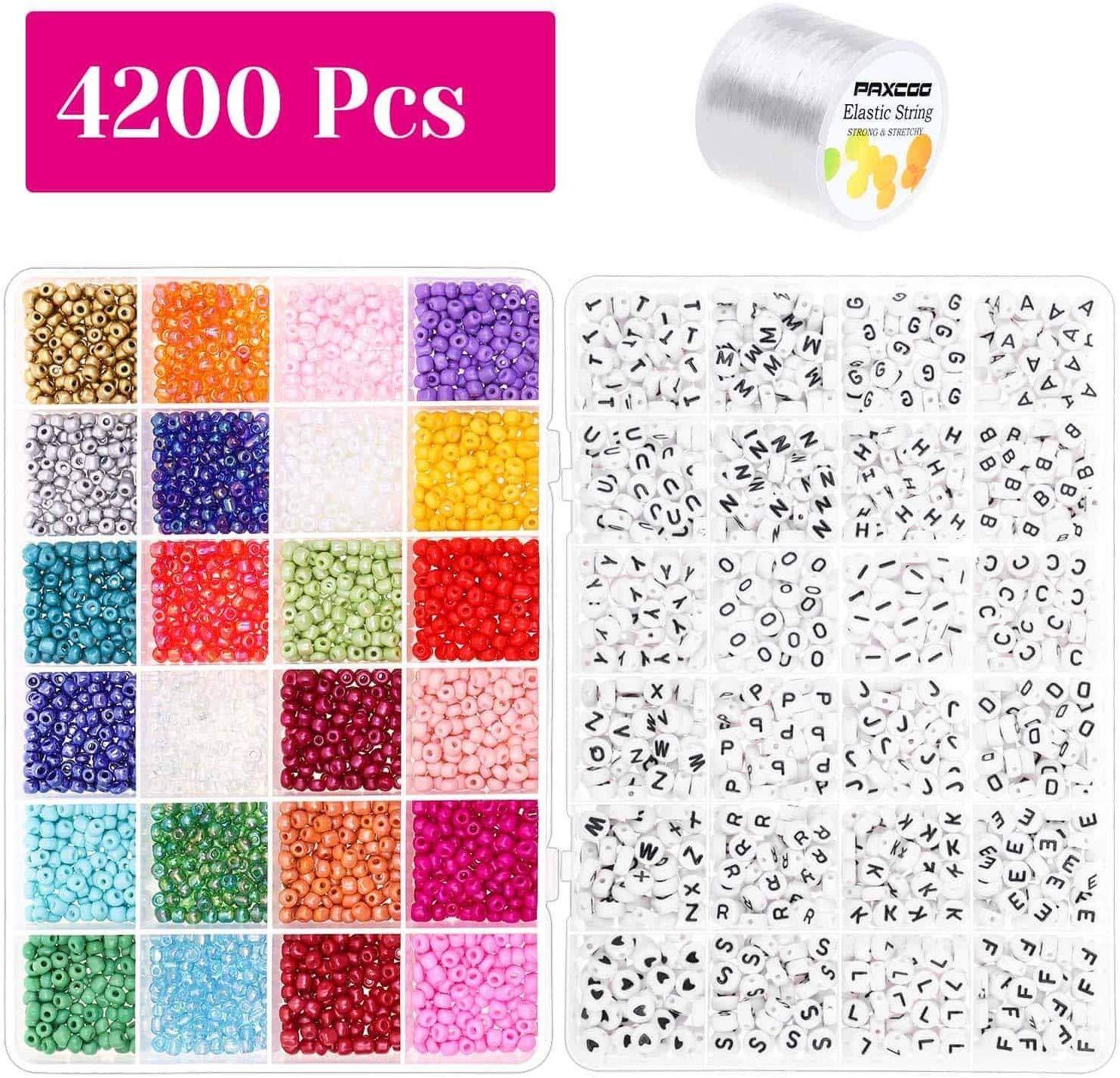 Pony-Perlen für Armbänder, 3000 Stück 4mm Kleinen Regenbogen-Pony Rocailles mit 1200 Stück Brief für Freundschaftsbänder und Juden