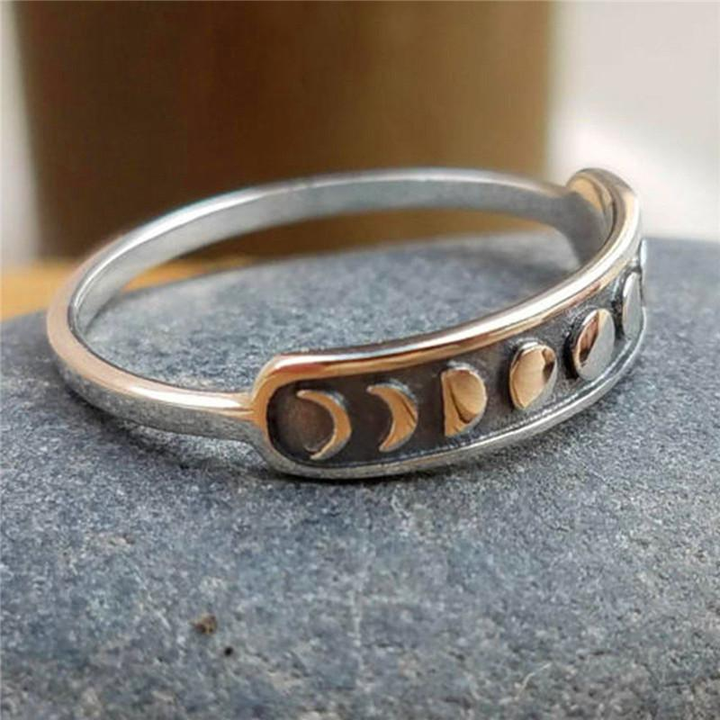 Vintag femminile piccolo matrimonio anello di barretta di modo di stile unico della luna di fase Anello di fidanzamento Carino regali gioielli semplici