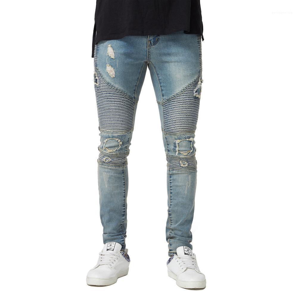Fit Pantalons Biker Crayon Mode Printemps Automne Pantalons Hommes Drapée Designer Jeans Slim Ripped