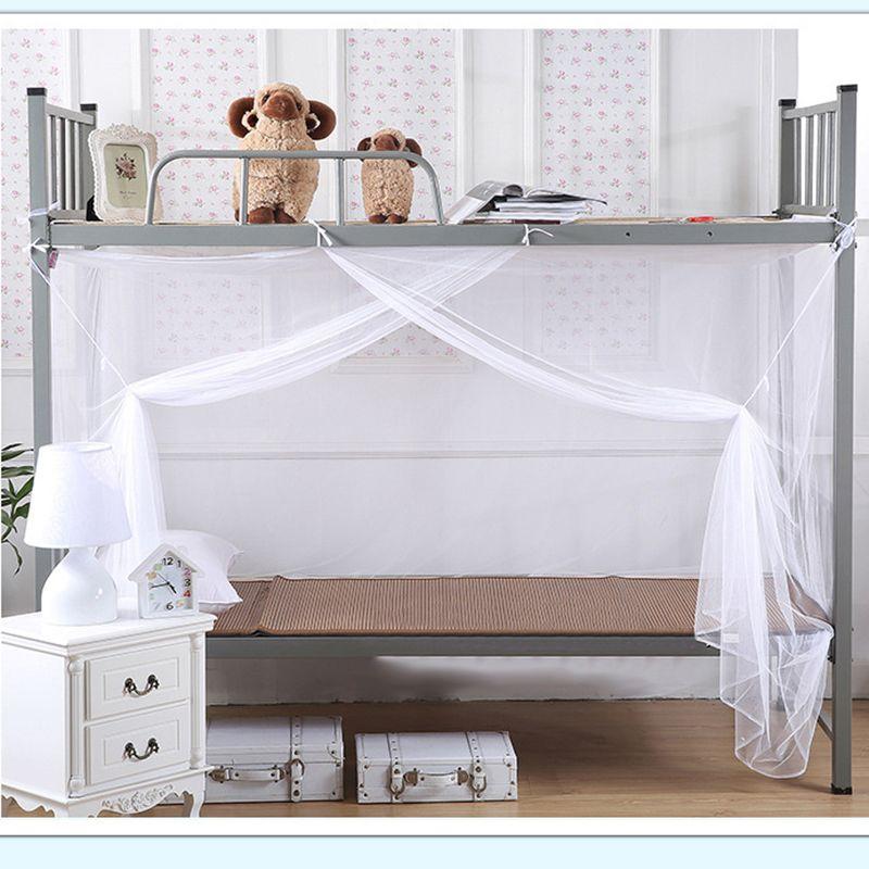 Kostenloser Versand Einzel Doppel König Super King Size White Insect Control Moskitonetz Four Corner Bed Canopy Studentenwohnheim