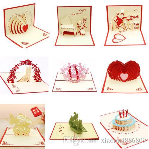 الأزياء 3D منبثقة بطاقات المعايدة الحب عيد الرومانسية عيد الحب هدية يوم