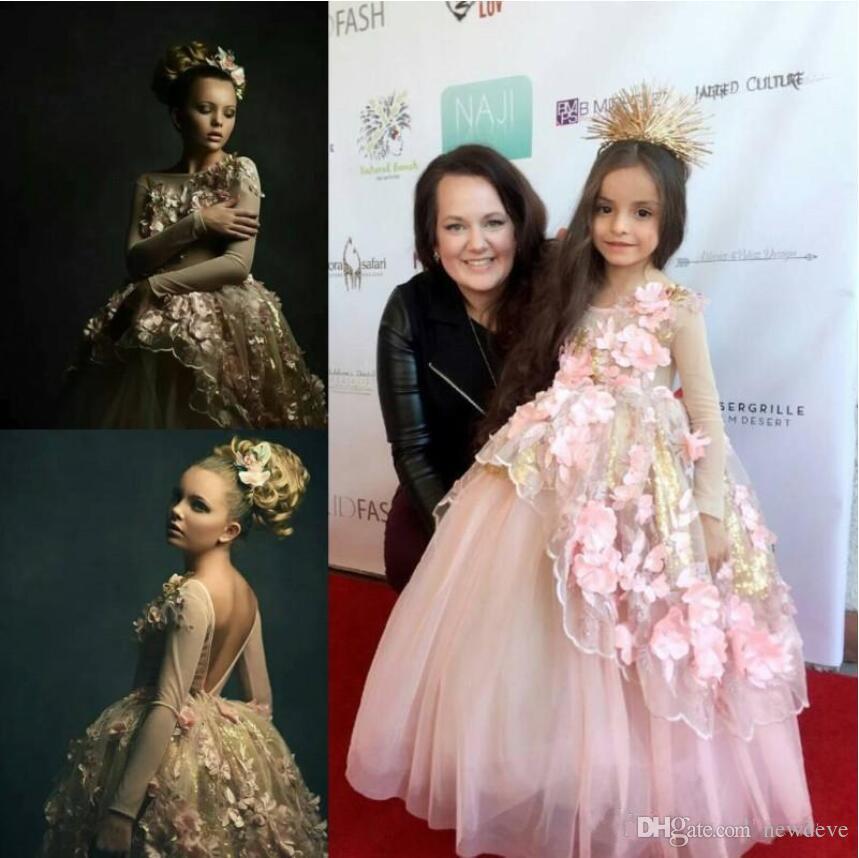 2019 princesa flor meninas vestidos de lantejoulas rendas 3d appliqued manga comprida meninas pageant vestidos de festa vestido de baile primeira comunhão vestidos