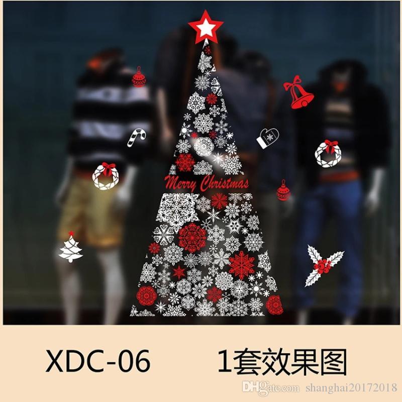 Décoration de Noël Fenêtre En Verre Autocollants Sans colle Sta Merry Christmas Père Noël Neige PVC Amovible Sticker Mural Cadeaux pour Noël Décor À La Maison