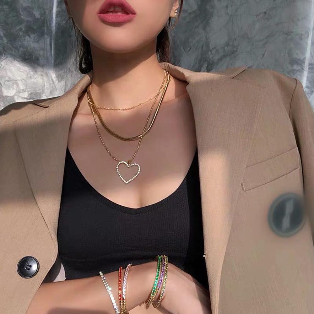 المرأة الكبير القلب قلادة خمر متعدد سلاسل المختنقون القلائد للنساء فاسق مجوهرات كريستال القلب قلادة قلادة قلادة الذهب 2020