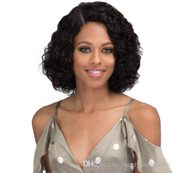 nuevo peinado que llega 8a pelo brasileño bob corto rizado pelucas rizadas simulación cabello humano Longitud del hombro peluca rizada rizada en stock