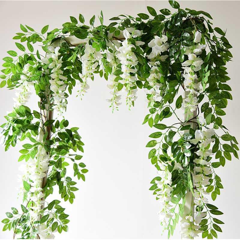 7 pés 2m Flor de Cordas Artificial Wisteria Vine Garland folhagem plantas ao ar livre Início Trailing Flor Falso Hanging Wall Decor