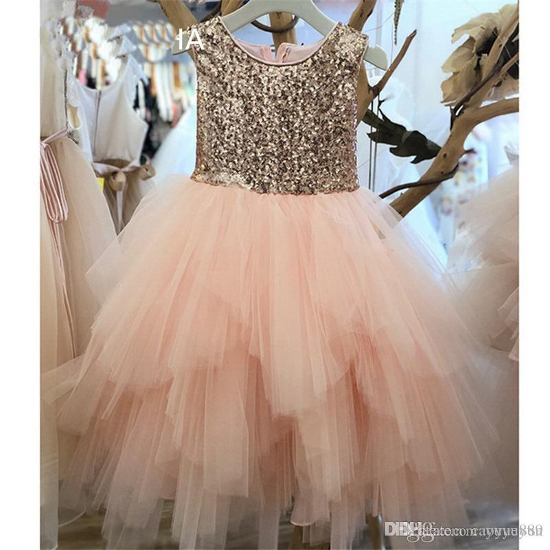 2-14 Years Floor-Length Kids Sequin Flower Girls Dress Kids Pageant Party Wedding Ball Gown Prom Princess Formal Occassion Girls Dress
