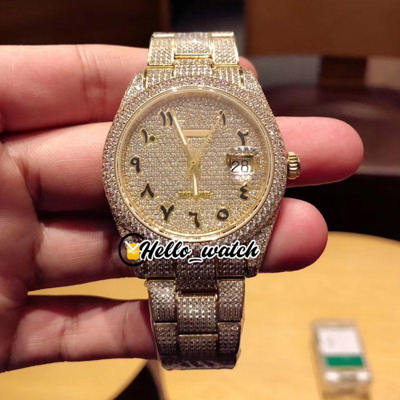 Neue Gypsophila Diamant Zifferblatt Möwe 2824 Automatische Herrenuhr 126333 126334 126234 Arabisch Mark Gold 904l Stahl Diamant Armband Hello_Watch