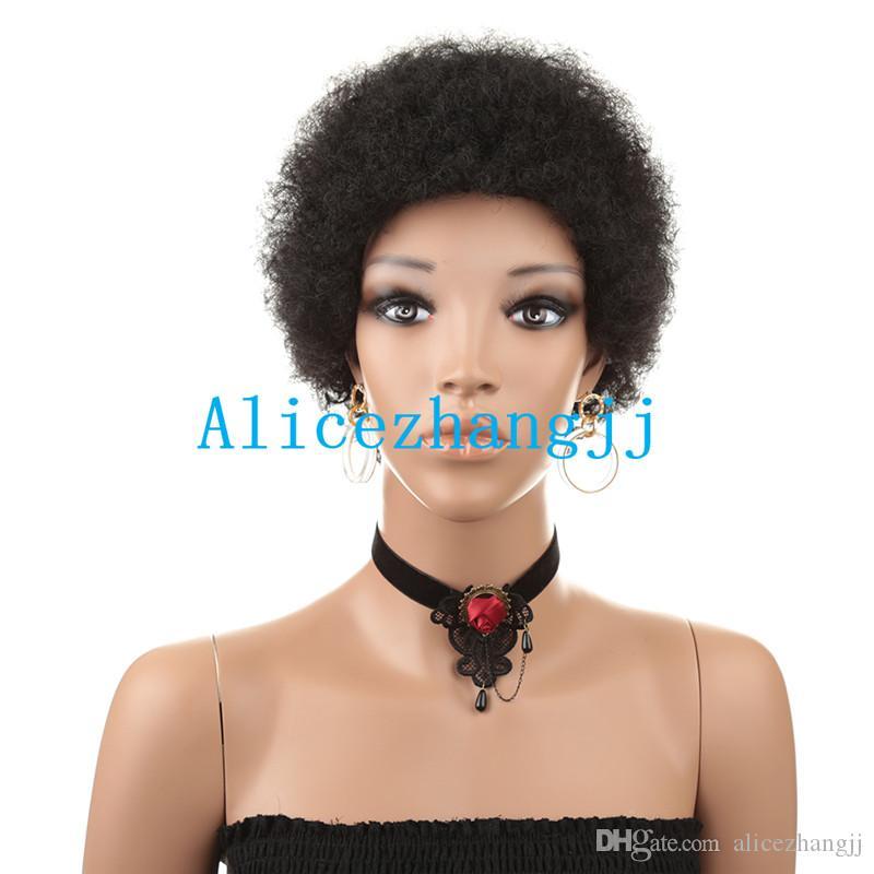 Kurz afro lockigen Menschenhaarperücken Maschine verworrene lockige brasilianische Haarperücken für schwarze Frauen gemacht