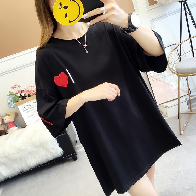 ~ Verão roupas mm de gordura moda solta top meia manga mulheres de grande porte Top bordados bordados grande T-shirt mulheres