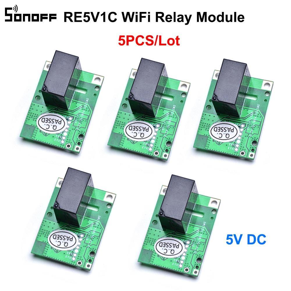 5PCS / lot SONOFF RE5V1C Wifi DIY interruptor 5V DC Módulo de Relé Smart Wireless Switches Inching / travamento automático Modos APP / Voz Remoto ON / OFF