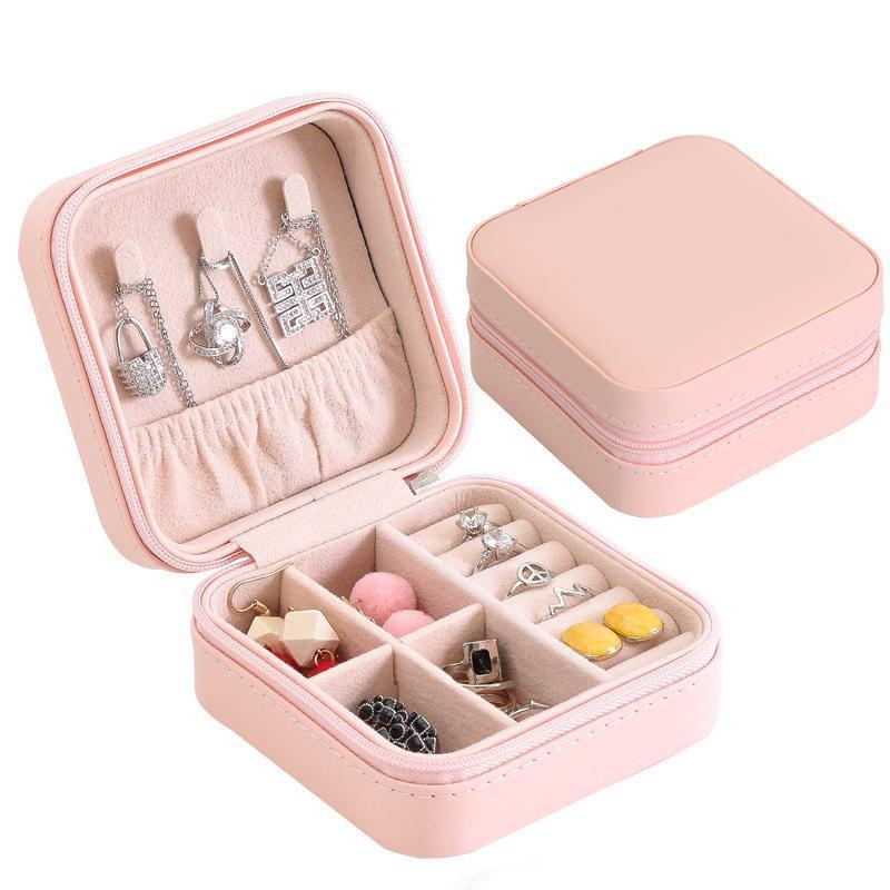 Lady viagem Jewelry Box Zipper Encerramento PU couro pequena jóia Organizador portátil Display Case Armazenamento para Anéis Brincos Colares
