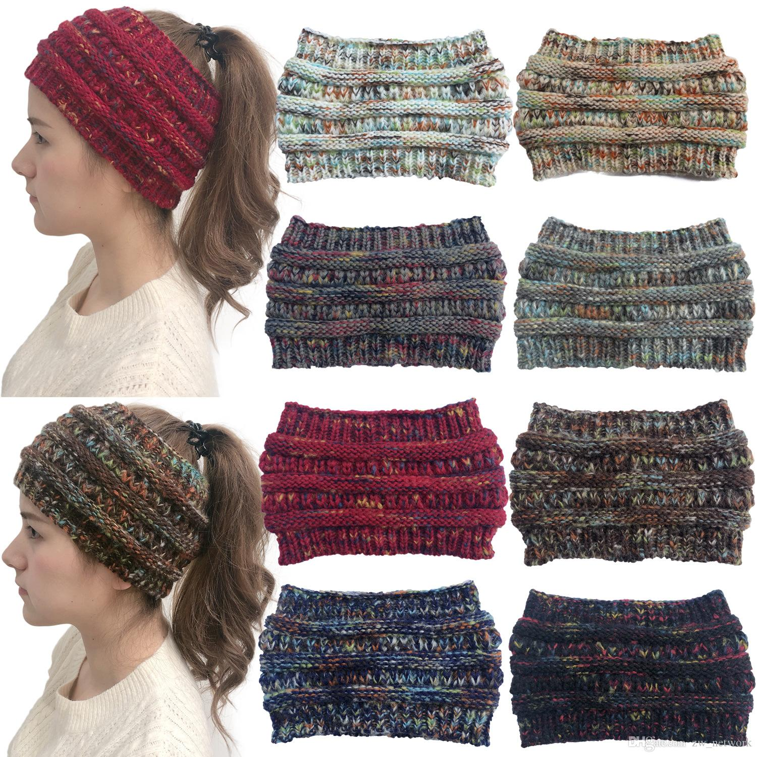 New winter colorful dot knitted headband widened woolen hat for women outdoor elastic hair band visor cap A07