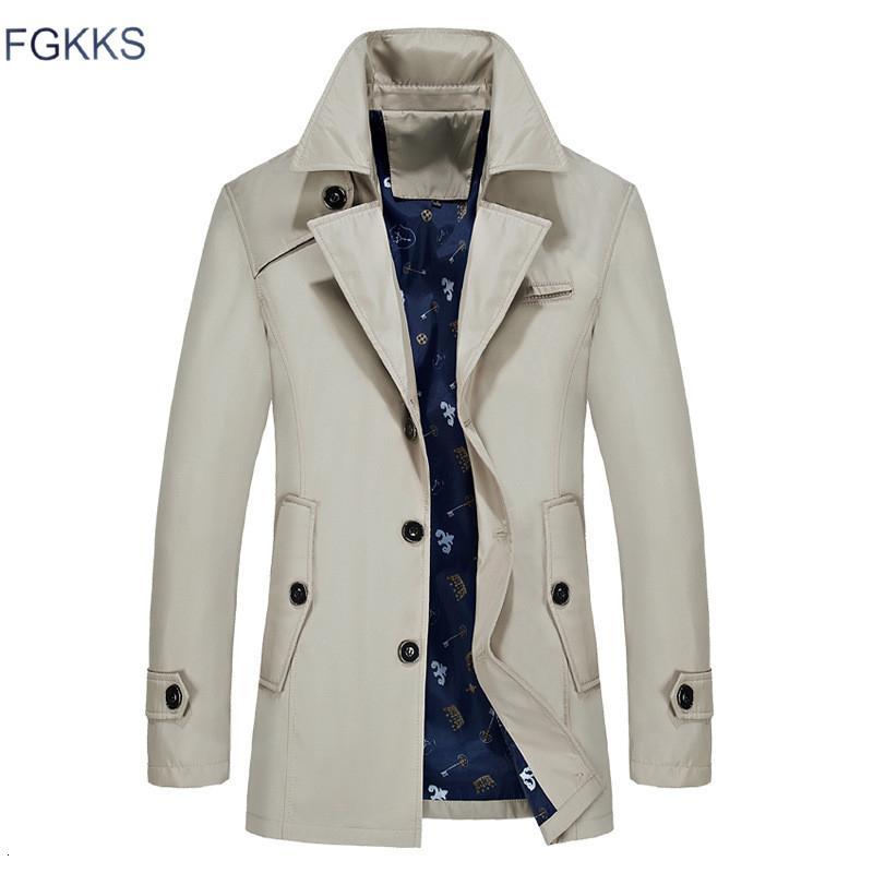 FGKKS Hombres chaqueta del foso del otoño de los hombres de moda Marca Slim Fit color sólido solapa del abrigo largo Gabardina larga Casual Male CJ191118