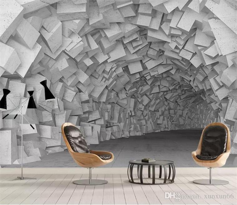 Papel de parede personalizado 3D europeus retro murais de parede extensão espaço de túnel de vento industrial sofá TV fundo papel de parede 3D
