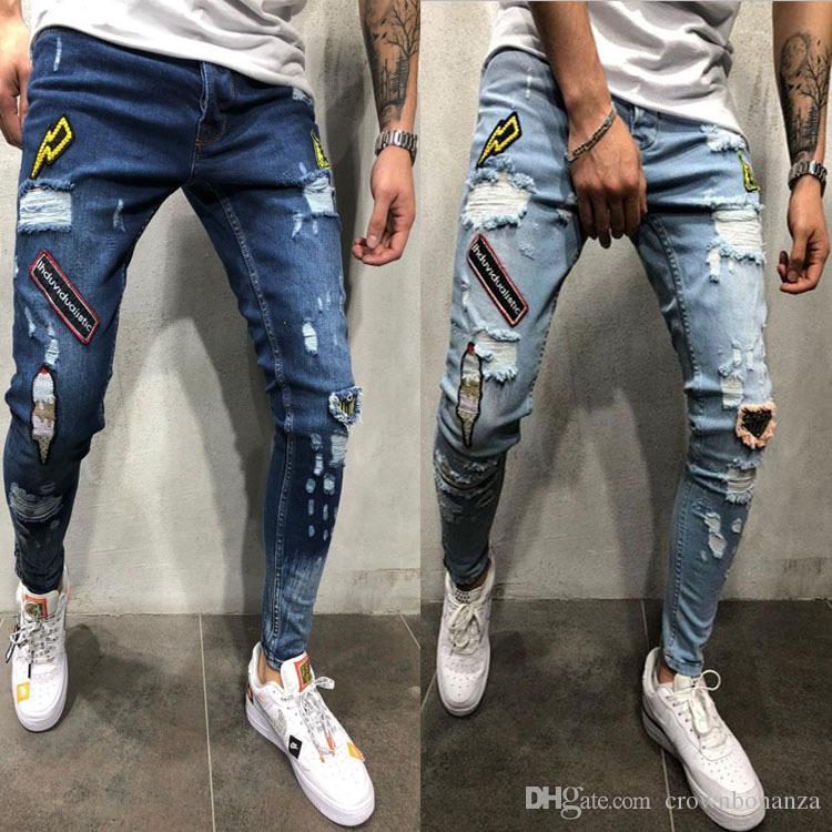 Mens en détresse Biker Chiker Jeans Slim Fit Moto Biker Denim pour hommes marque de marque HIP HOP MENS JEANS