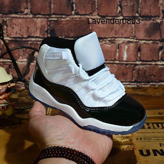 Bambini 11 XI 11s Concord 45 Bianco Nero Boy Scarpe ragazza di pallacanestro High Cut bambini Toddler Outdoor formatori Moda Sport Sneakers 28-35