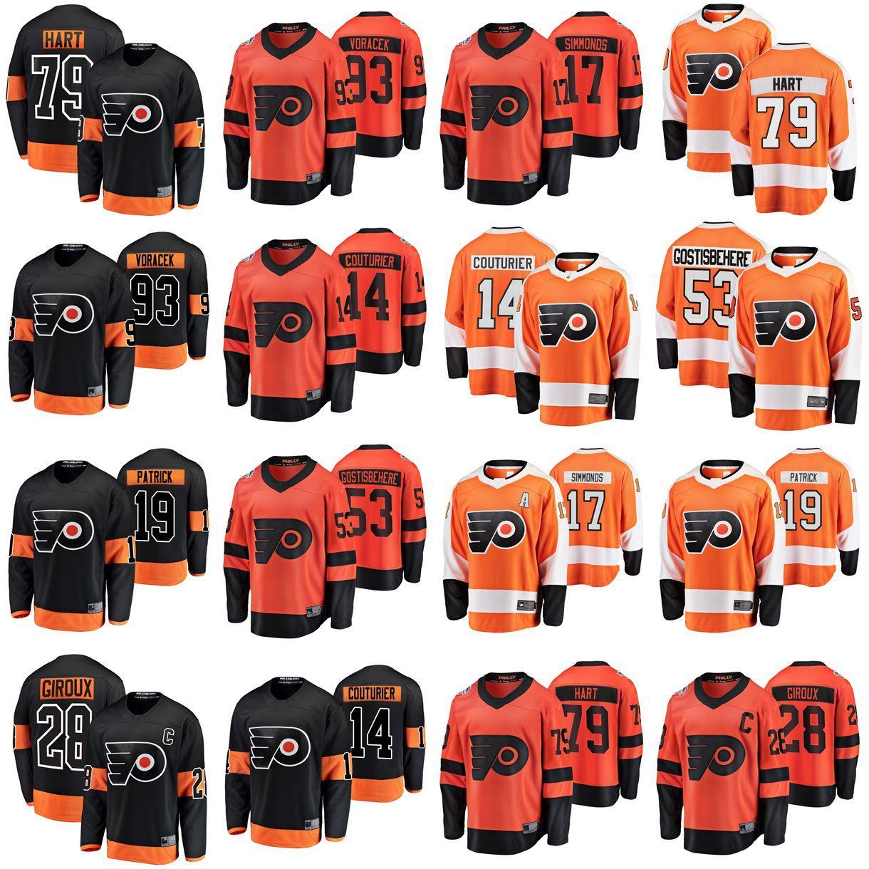 Philadelphia Flyers Jerseys Mens 28 Claude Giroux Jersey 19 Nolan Patrick 17 Wayne Simmonds 79 Carter Hart Womens Ice Hockey Jerseys Juventude