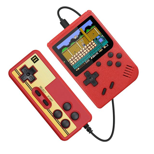 Mini Doubles Handheld Game Console Retro Portable Video Game Console Can Store 400 Games 8 Bit 3.0 Inch Colorful LCD Cradle Design