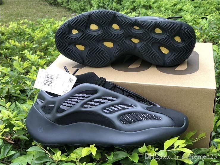 Novas Kanye West Originals 700 V3 Black Azael Running Shoes 3M reflexiva corredor da onda brilha no escuro Homens Mulheres Sports Sneakers Com Box