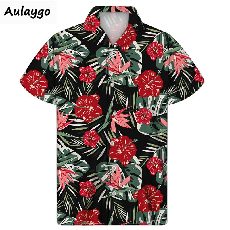 여름 쿠바 남자 셔츠 열대 식물 인쇄 칼라 얇은 짧은 소매 느슨한 하와이 Shir 2020 새로운 Camisa 험 브레 턴 다운