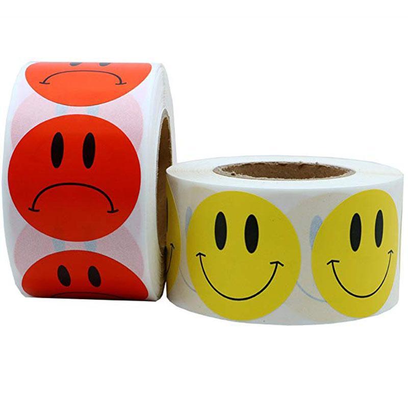 500pcs sarı yüzü ve kırmızı Sad Yüz Çıkartma gülümseme öğretmen çocukları ödül etiket çıkartma için 1 inç Yuvarlak Başına Rulo