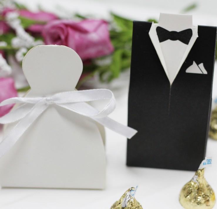 5.1*3.1*10CM Tuxedo dress Bride groom candy box with white ribbon wedding gift favor box 50Pair