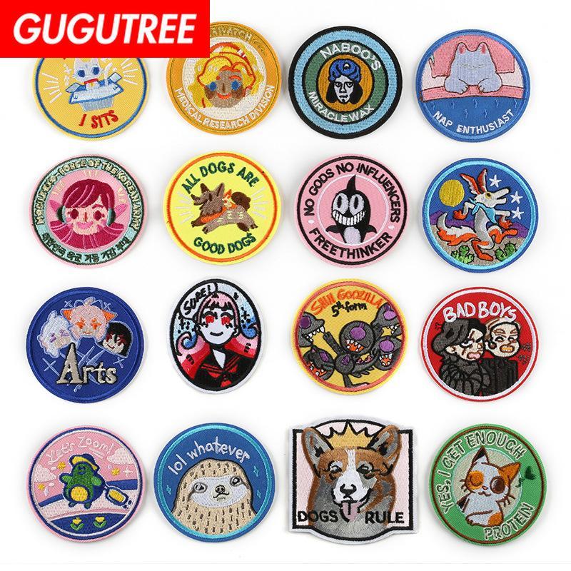 GUGUTREE один набор для вышивания декорации круглый патч животных патчи Жетоны аппликации патчи для одежды ДК-99