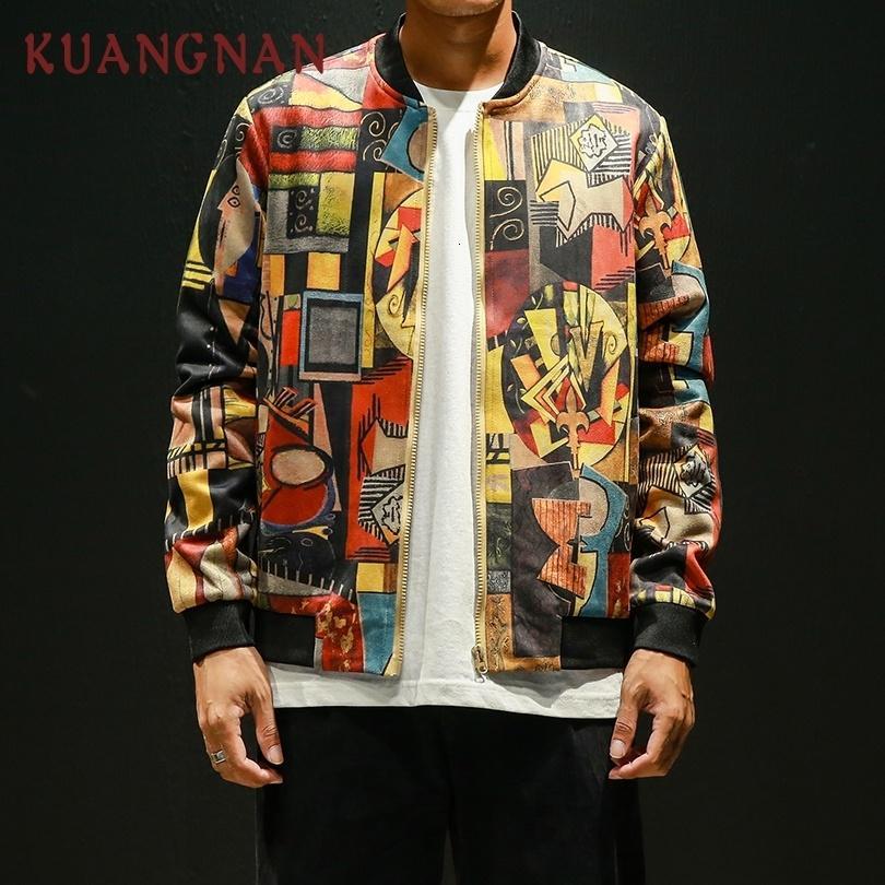 KUANGNAN estilo de Japón Bombardero de Hip Hop de los hombres de la chaqueta ropa japonesa 2018 Streetwear hombres capa de la chaqueta para hombre 5XL chaquetas y abrigos CJ191203