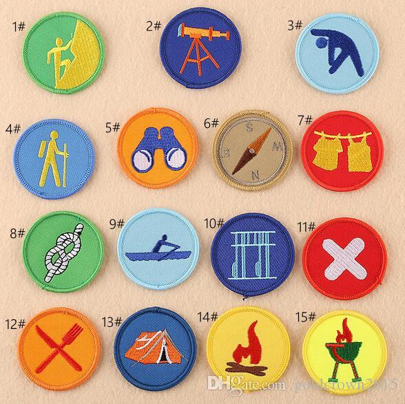8P-72 hot sale round cartoon embroidered Iron On Patch Boy Scout Badge Applique KIDS sew on patch can customer design
