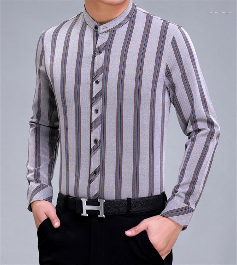 Çizgili Erkek Tasarımcı Gömlek Moda İş Erkek Gömlekler Uzun Kol Artı boyutu İnce Gömlek Dikey