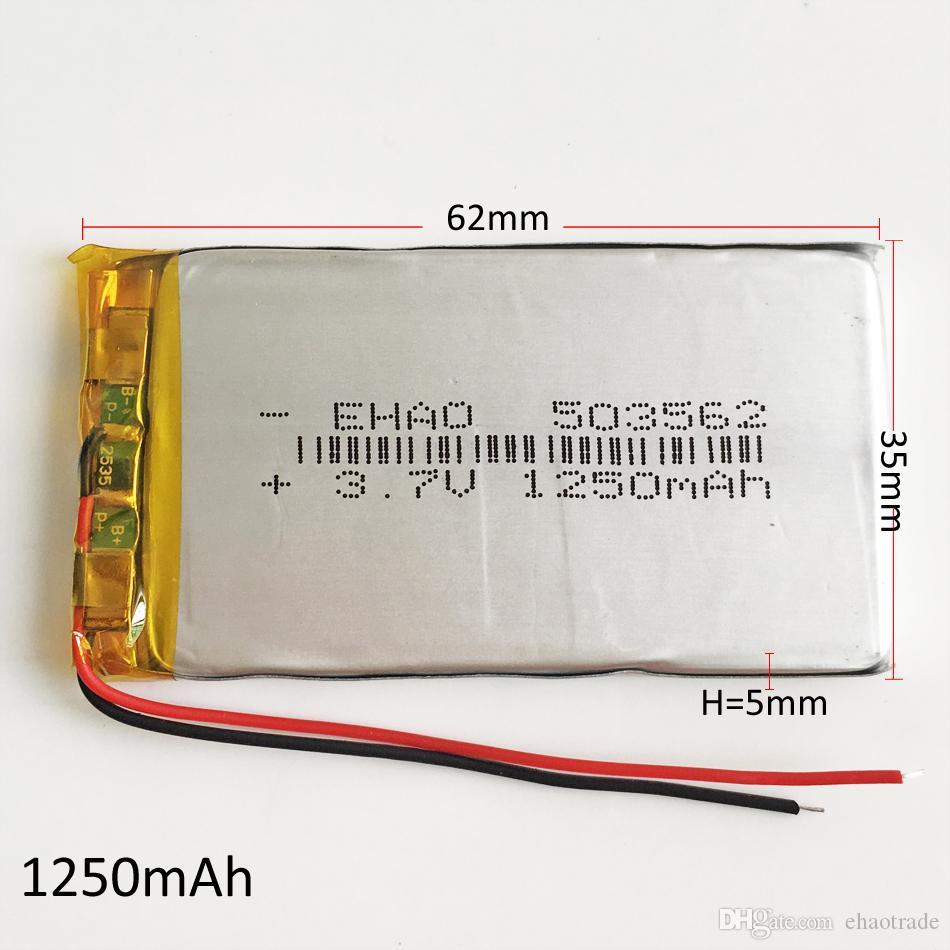 Model 503562 3.7 V 1250 mAh Li-Po Şarj Edilebilir Pil Lityum Polimer Mp3 DVD PAD cep telefonu GPS güç bankası Kamera E-kitaplar için recoder