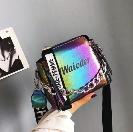 2019 nueva bolsa de hombro versión coreana de la bolsa de mensajero ins estalló grieta pequeña bolsa cuadrada