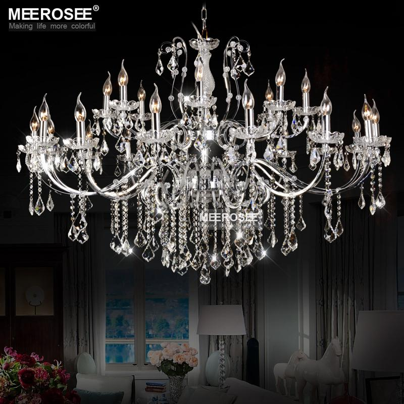 24 Arms Vintage Black Chandelier Crystal Light Fixture Large American Wrought Iron Lustre Hanging Lamp Chrome Metal Pendant Light Fast Ship