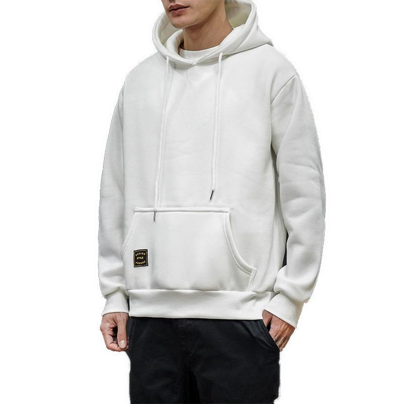 Moda Beyaz Kapüşonlular Mens Bahar Kapşonlu Sweatshirt Man Nedensel Streetwear Katı Man Hoody Harajuku Üst