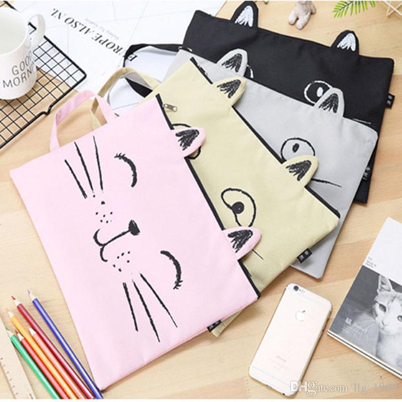Sacs de fichier de chat Zipper toile sacs en papier 4 couleurs Portable poche Cartoon Cartoon Test de stockage de papier étudiant papeterie cadeau du festival 08