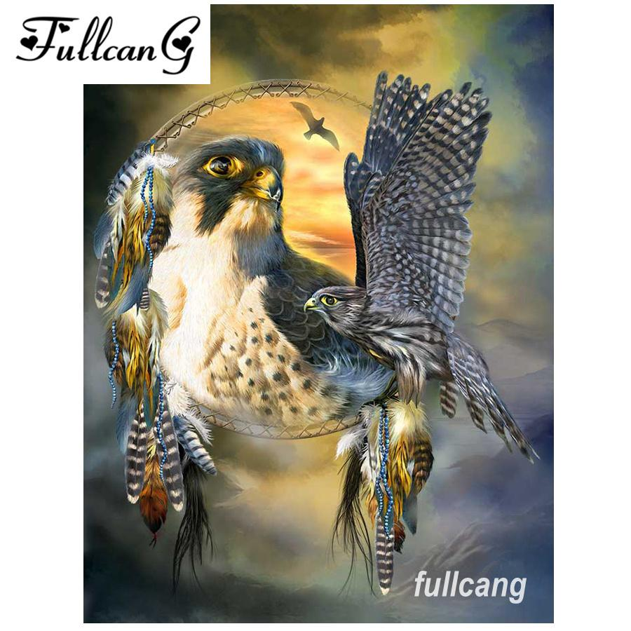 FULLCANG diy 5d mosaic needlework full square diamond embroidery eagle animals diamond painting cross stitch kits D545