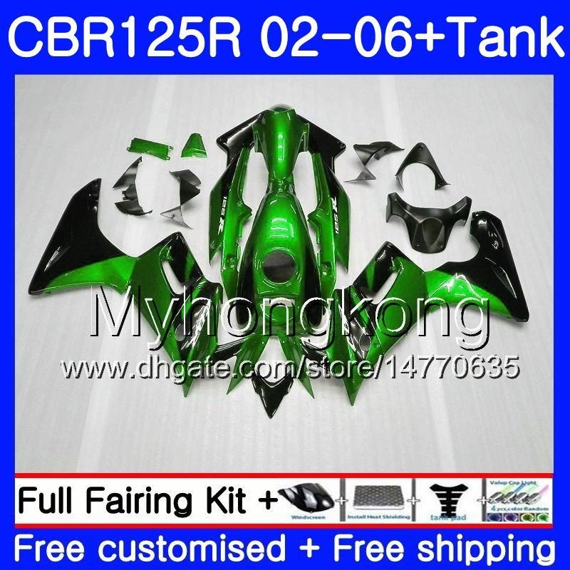 Body +Tank For HONDA CBR-125R CBR125R 2002 2003 2004 2005 2006 272HM.37 CBR 125CC 125 R 125R green black CBR125RR 02 03 04 05 06 Fairings