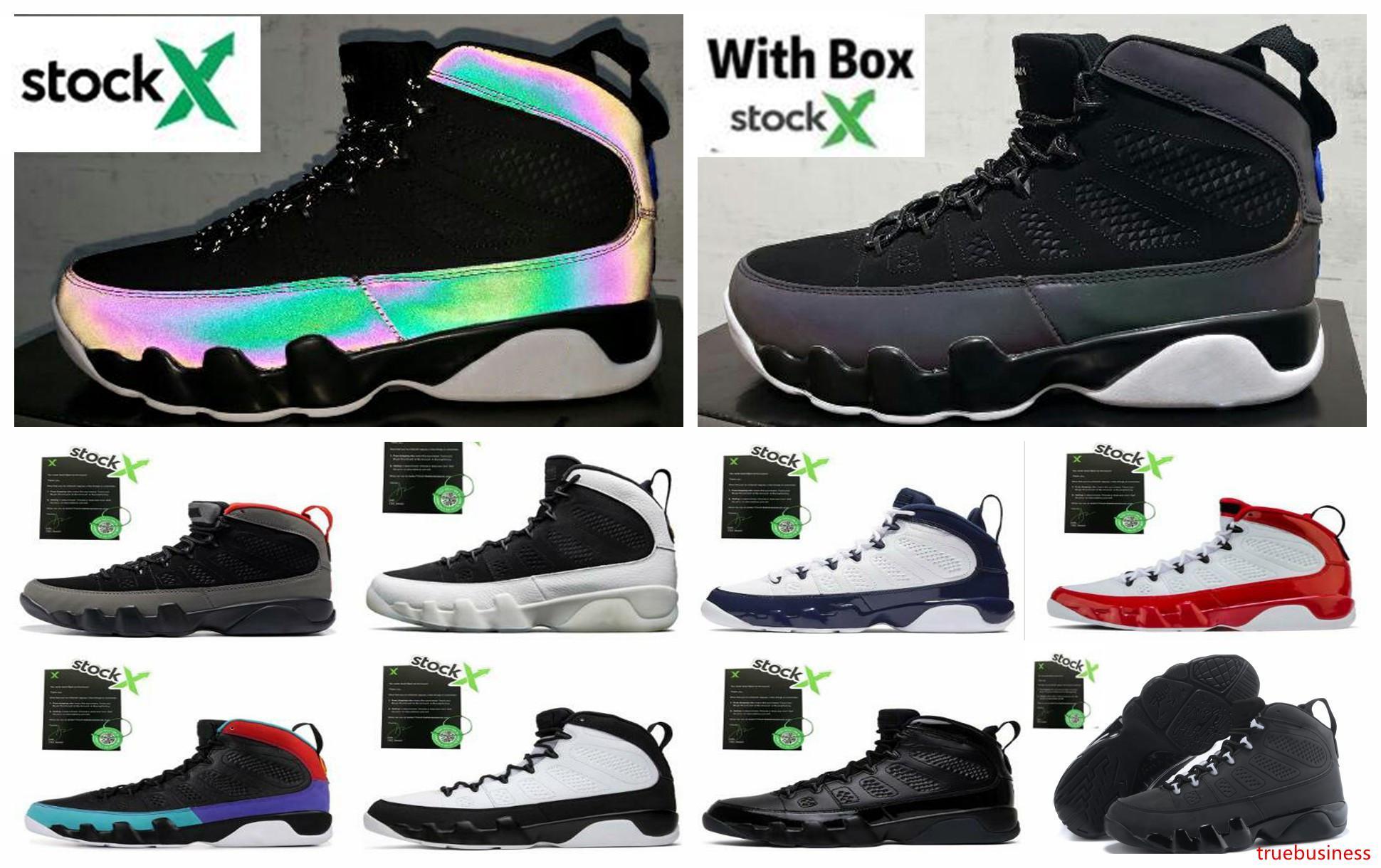 9 zapatos de baloncesto de los hombres del corredor azul 9s shippment de gimnasia Sueño Rojo Se hace él UNC atasco del espacio camaleón de la zapatilla de deporte Deportes Con Free